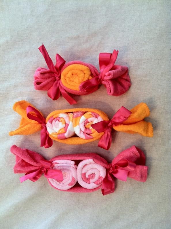 Baby shower wash cloth candies