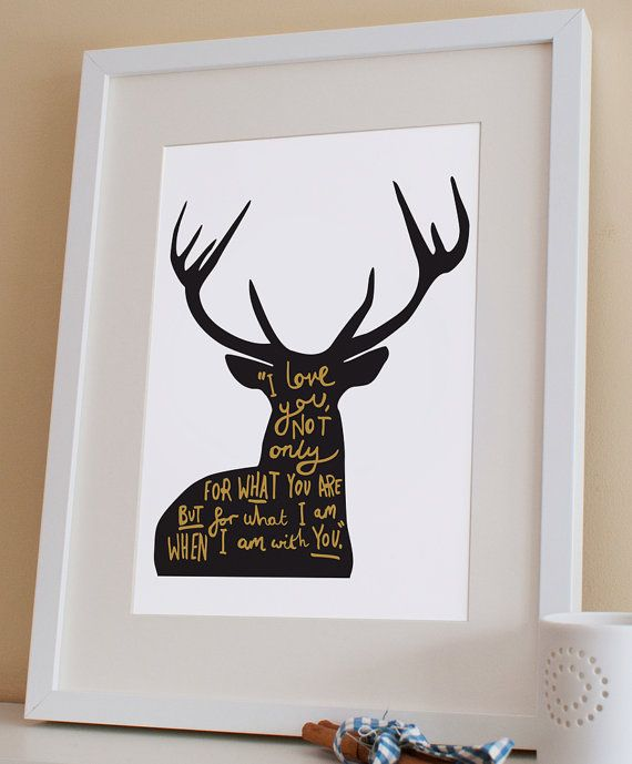 Love Quote Deer Print A4  Christmas deer print by OldEnglishCo, £15.00