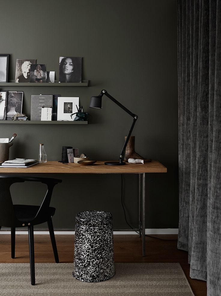 Dark olive green wall, workspace styling, Hem , Vipp, velvet curtains
