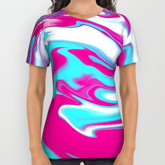 Aqua Magenta Marble All Over Print Shirt #OksanaAriskina #Artworks #HomeDecor #FineArtPrints #FineArtAbstract #Abstract #ArtForSale #BuyArtOnline #Marble #Magenta #Aqua #Wave #Flow #River