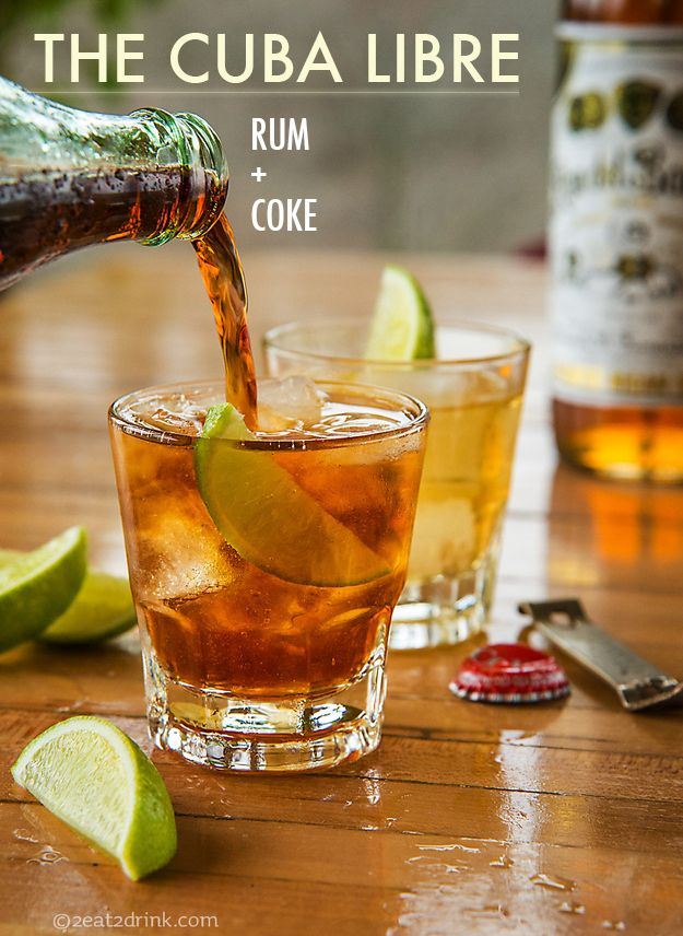Cuba Libre - Top one or two shots of rum with Coke and garnish with a lime wedge. (NB that this drink only gets to use the fancy Spanish name if you serve it with lime.)