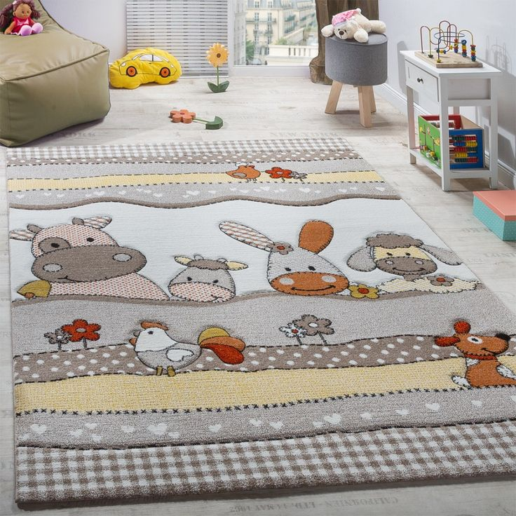 Kinderteppich Kinderzimmer Lustige Bauernhof Tiere Konturenschnitt Beige Grau  Kinderteppiche