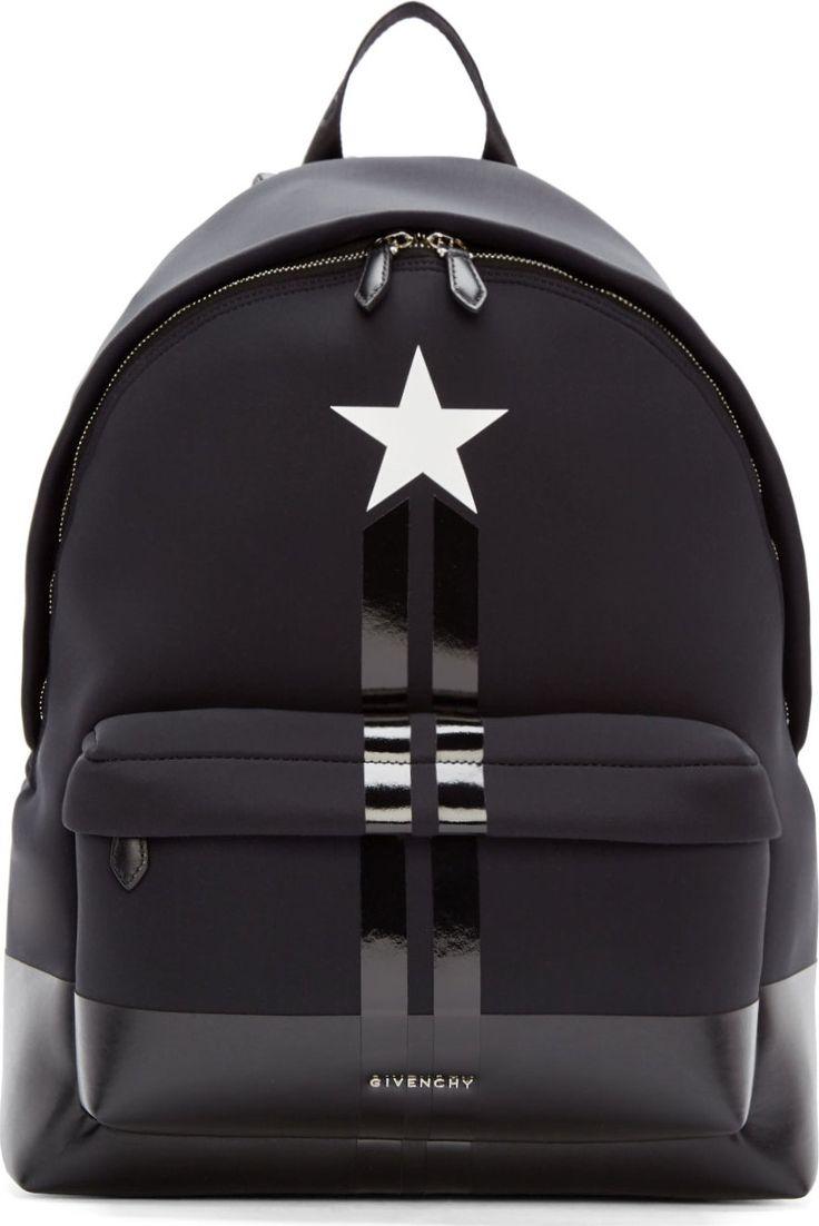Givenchy Black Neoprene & Leather Star Backpack