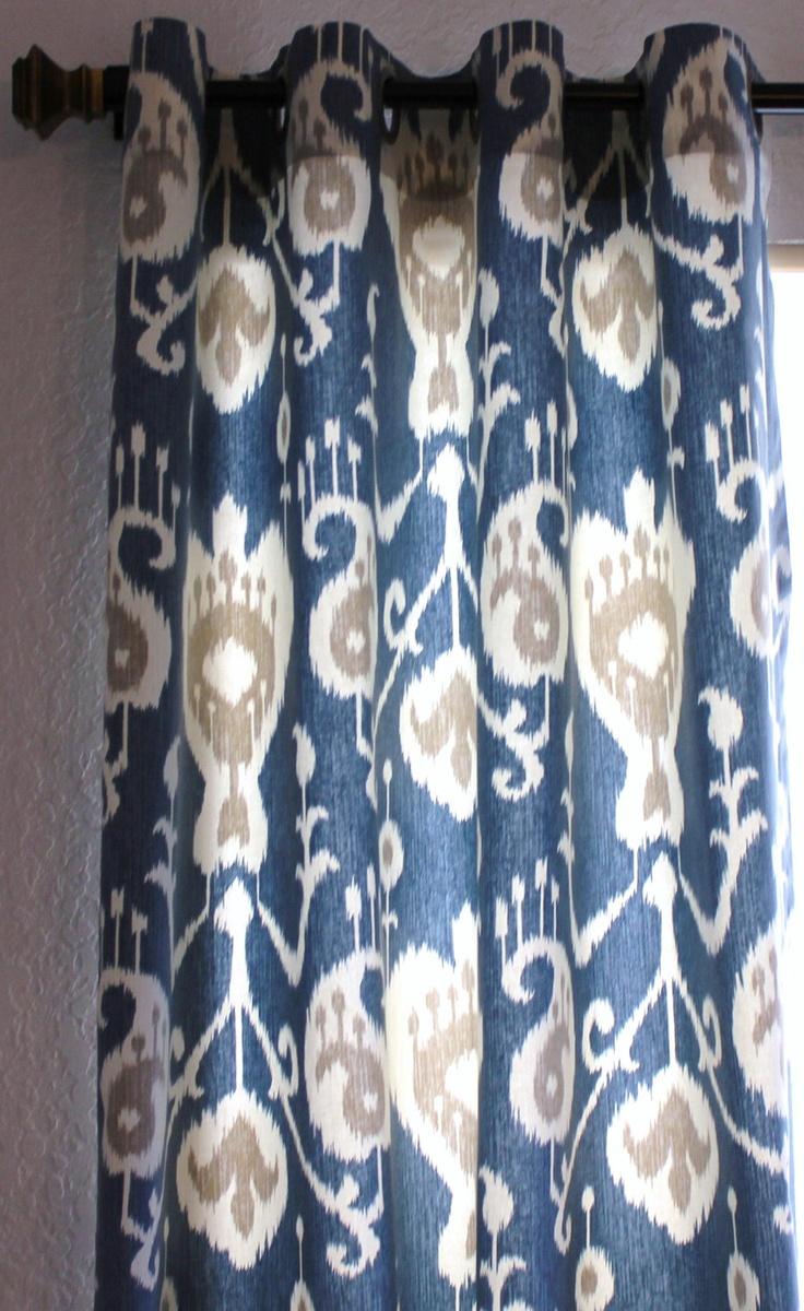 Yacht Blue Cream Java Ikat Curtains Custom Drapes By SewPanache, $170.00