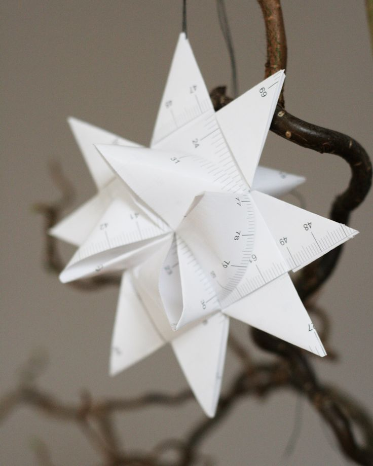 Ikea hacks: Use an old measurement tape to create a Froebelstern. Nice christmas decoration!