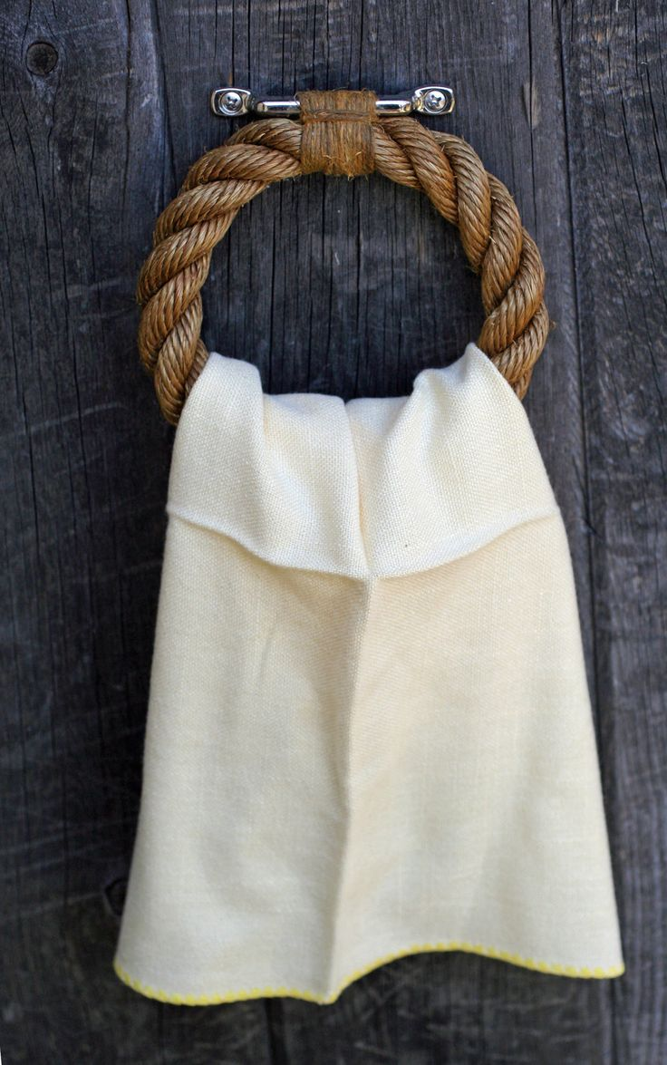 Nautical rope towel ring.