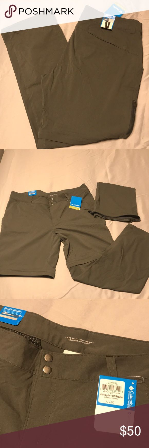 Columbia outdoor/hiking pants w/ Omni-shield Great for hiking and outdoor activities. The bottoms of these pants zip off to transform into shorts. Has Omni-shield which is a water and stain resistant barrier. Size 18w/regular Columbia Other