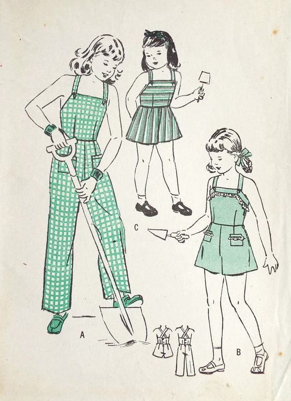 Vintage 1940s Butterick Overalls Sewing Pattern Sz 4
