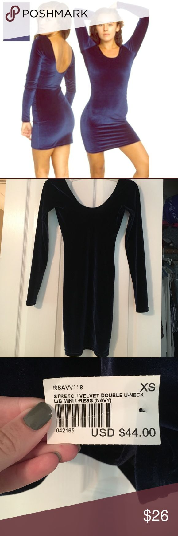 NWT American Apparel Blue Velvet Bodycon Dress Very flattering velvet bodycon dress from American Apparel. NWT Size XS American Apparel Dresses Mini