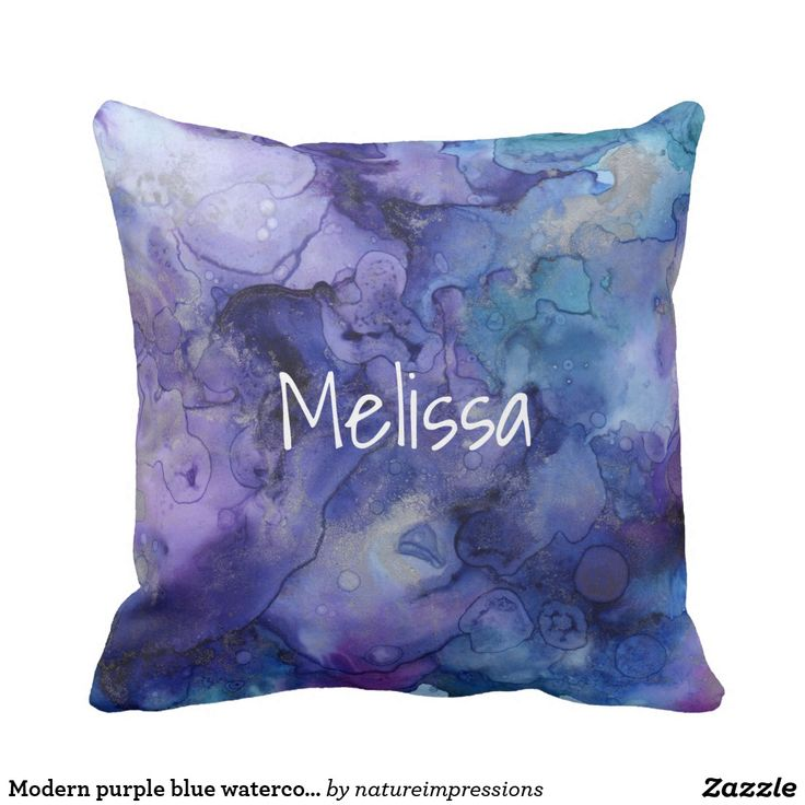 Modern purple blue watercolor splatter personal