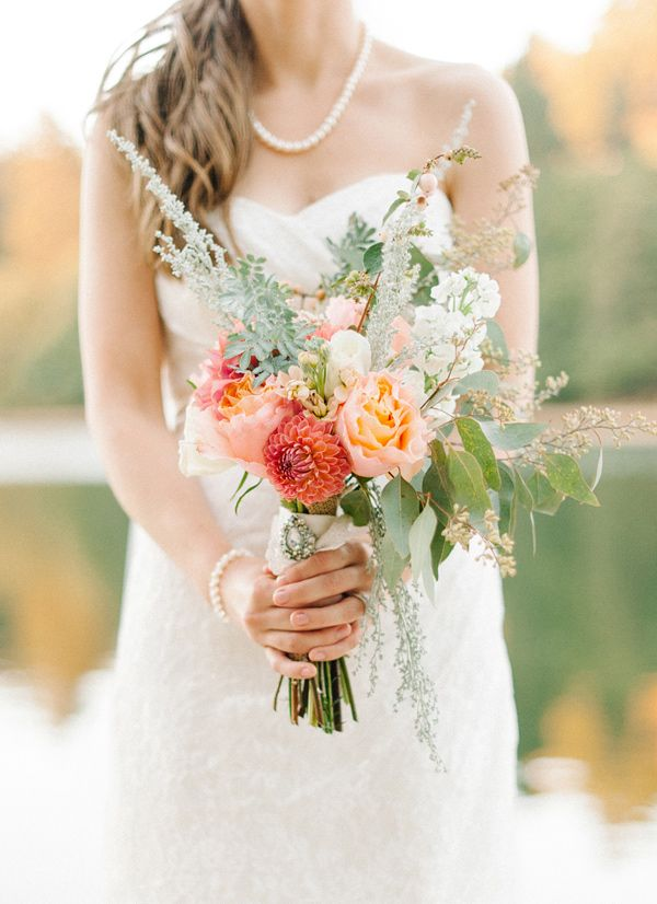 love this unpredictable bouquet! photo by @Daniel Morgan Morgan Cruz styling by @Collette Vickers Vickers Budd http://ruffledblog.com/romantic-lake-gregory-wedding #flowers #bouquets #wedding