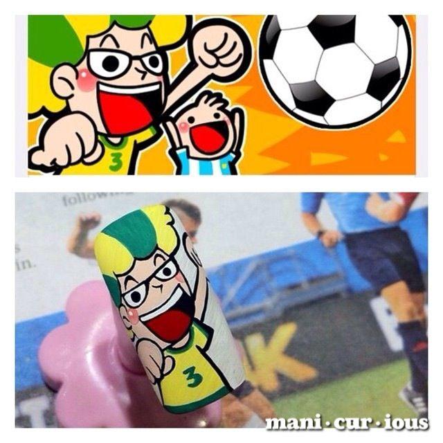 goaaalllllllll! brazil world cup inspired hand drawn nailart // branch: manicurious