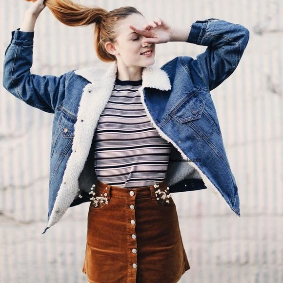 Brandy Melville fleece lined denim jacket NWT Brandy Melville Jackets & Coats Jean Jackets