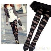 Wish | Women Sexy Pantyhose Black Ripped Stretch Vintage Tights Legging Mock Stocking