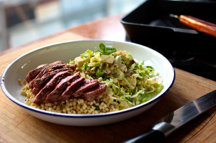 Brussel Sprout Slaw with Lamb and Feta