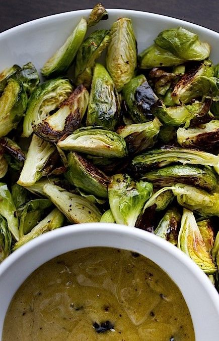 crispy brussels sprouts with black garlic aioli.