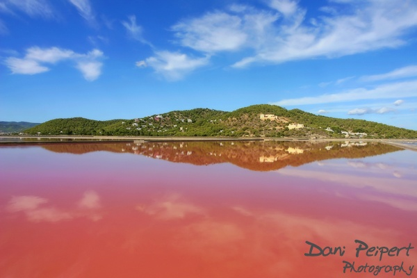 The salt lakes of Ibiza, Spain