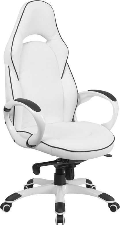 Flash Furniture High Back White Vinyl Executive Swivel Office Chair With Black Trim