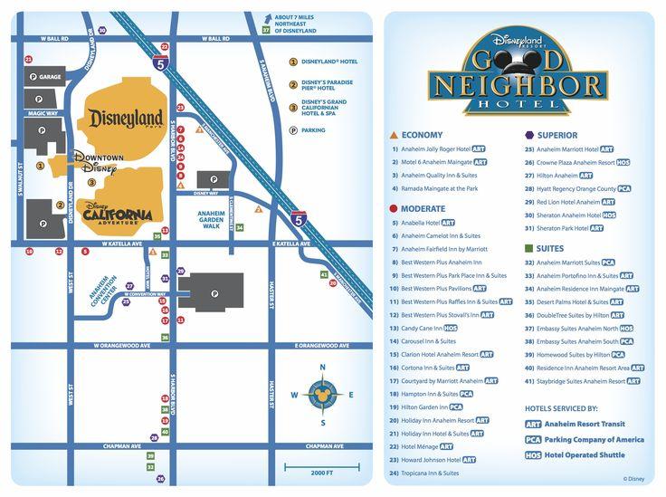 Map Of Disneyland Hotels Walking Distance
