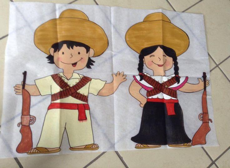 Dibujo de niños revolucionarios en pellon