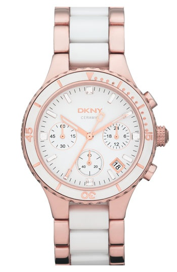 PinkFashion, Ceramics Bracelets, Dkny Lady, Dkny Watches, Bracelets Watches, Women Chronograph, Stainless Steel, Rose Gold, White Ceramics