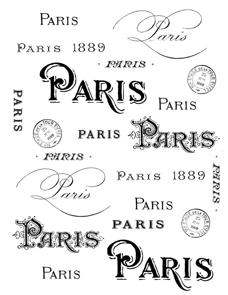 The Graphics Fairy - DIY: French Transfer Printable - Paris Typography www.graphicsfairy-diy.com