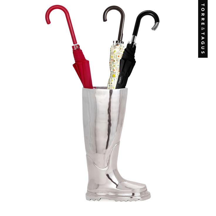 Make a statement at your front entrance with this unique Aluminum Boot Umbrella Stand.  #TorreAndTagus #UmbrellaStand #AprilShowers #MayFlowers #HomeDecor www.torretagus.com