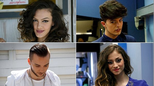 I 4 finalisti di Amci14 (In alto a sinistra il vincitore: Stash, i The Kolors)