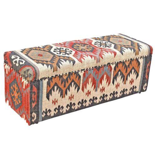 Multicoloured-Kilim-Solid-Wood-Furniture-Upholstered-Ottoman-Storage-Blanket-Box