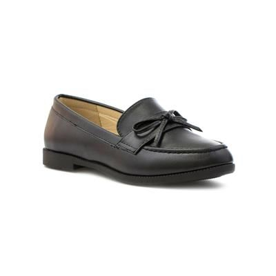 Lilley Womens Black Matte Loafer Shoe with Bow