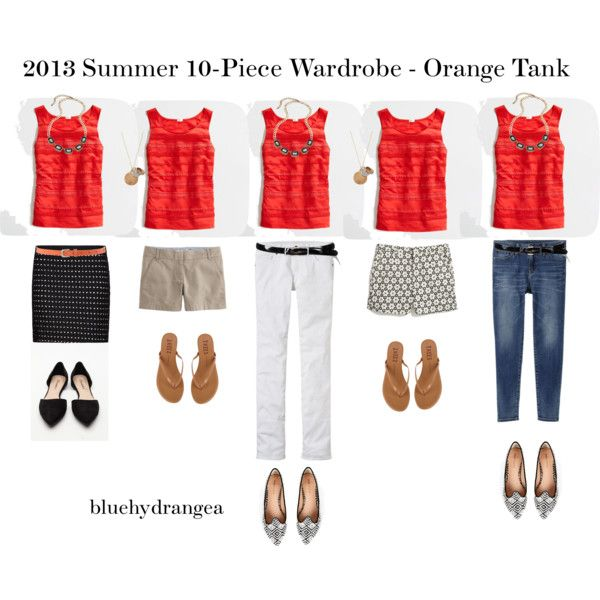 """Summer Wardrobe - Orange Tank"" by bluehydrangea on Polyvore"