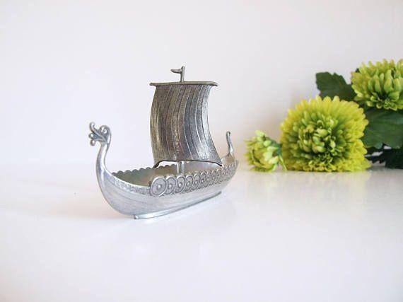 Souvenir Noruega // Drakkar vikingo de estaño Noruega // Barco