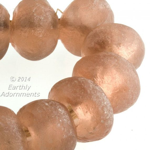 Extra large recycled glass bead, Ghana West Africa, 25x23mm champagne color. Sold individually.(pp-1227)
