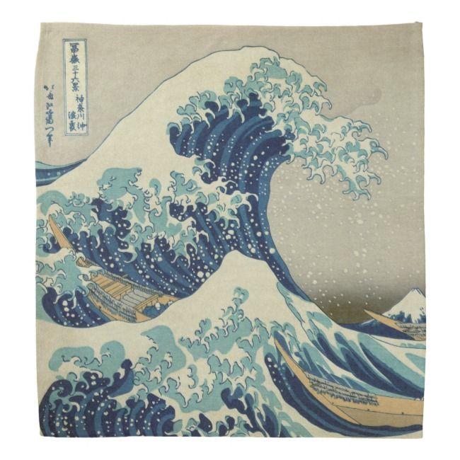 Illustration of blue japanese wave bandana   Zazzle.com