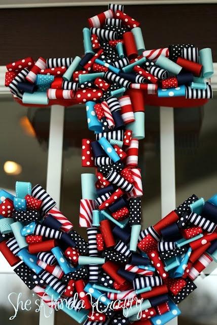 Nautical Ribbon Wreath- @Sara Duke- you need this! :)
