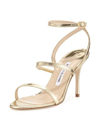 Didin Metallic Strappy High-Heel Sandal, Gold by Manolo Blahnik at Neiman Marcus.