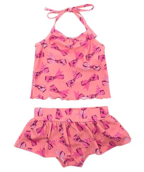 hakka Kid's(ハッカキッズ)のリボンプリントタンキニ水着(水着)|ピンク
