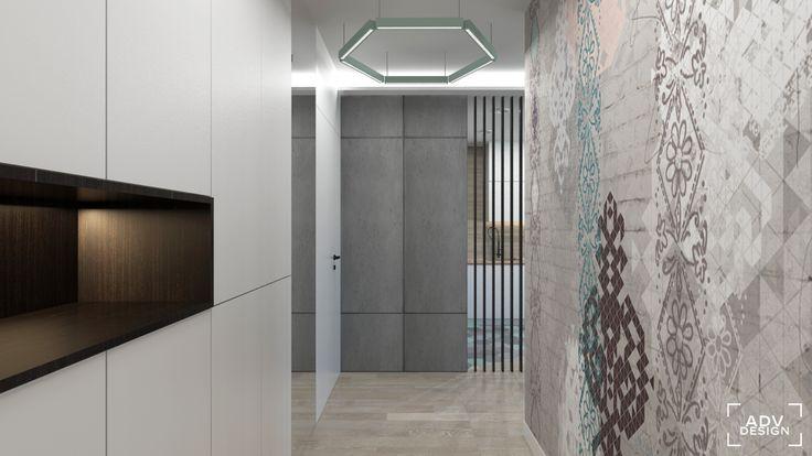 www.advdesign.pl 63m2_4 entrance hall room wood panels hexagon mint grey wallpaper double room