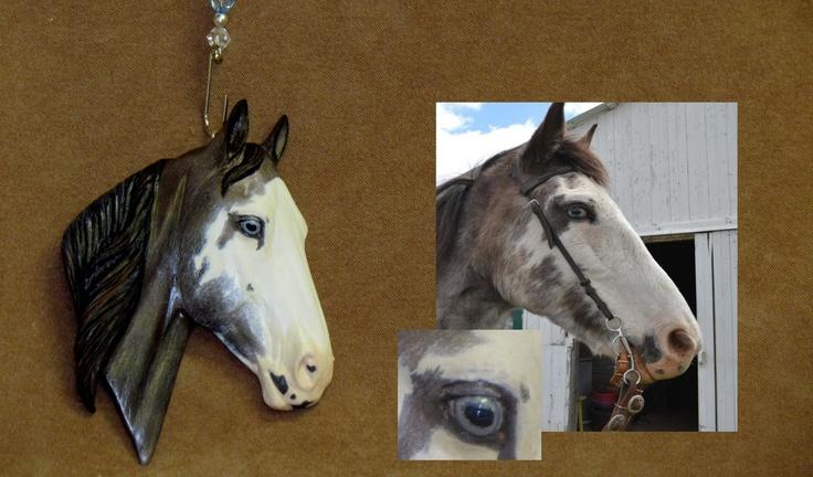 Original Sculpture Handpainted Resin Horse Christmas Ornament of Your Horse. $25.00, via Etsy.