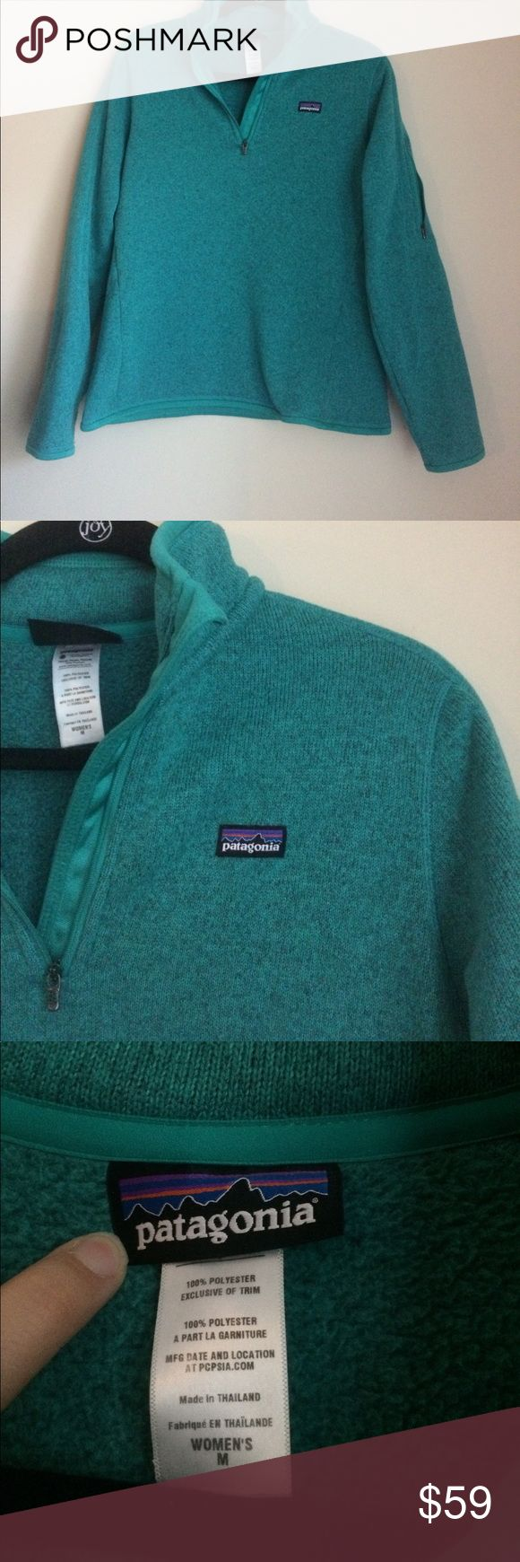 Patagonia Women's Better Sweater Green Pullover M The perfect Patagonia for cooler weather! Better sweater jacket perfect with jeans, or for a workout! Quarter Zip Sweatshirt. does have some light piling, no rips or stains. Patagonia Tops Sweatshirts & Hoodies