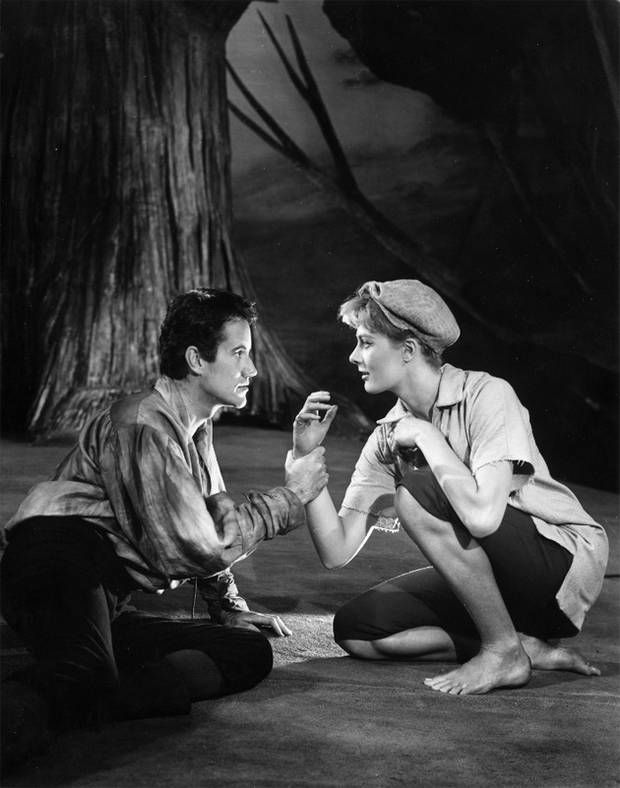 Ian Bannen and Vanessa Redgrave playing Orlando and Rosalind respectively in a scene from Shakespeare's 'As You Like It' at the Aldwych Theatre, London. (1962)