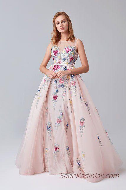 669c90c1f23b4 2019 Abiye Elbise Modelleri Pembe Uzun Kolsuz Transparan Yaka Kabarık Tül  Etek Nakış İşlemeli