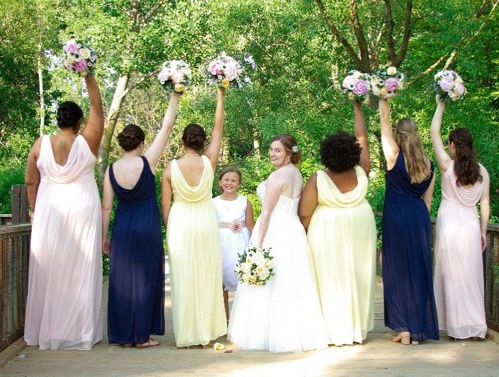 Beautiful Bride Courtney and her Bridal Party! Hairstyles by Christina  #stylemepretty #weddinghair #buffaloweddings #bride
