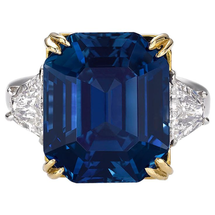 18.50 Carat Untreated Kashmir Sapphire Diamond Ring | From a unique collection of vintage cocktail rings at https://www.1stdibs.com/jewelry/rings/cocktail-rings/