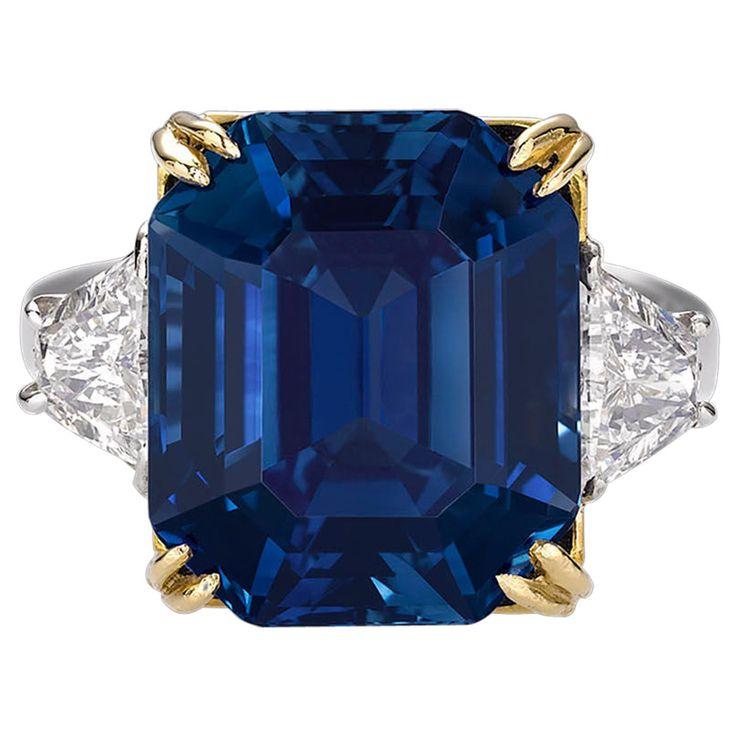 18.50 Carat Untreated Kashmir Sapphire Diamond Gold Platinum Ring $6.5 million