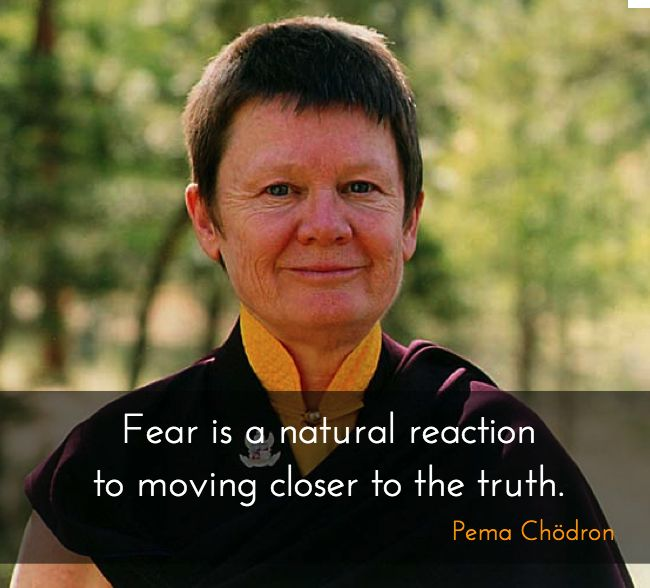 """Moving closer to the truth ~ Pema Chödron http://justdharma.com/s/lu8dy  Fear is a natural reaction to moving closer to the truth.  – Pema Chödron  from the book """"When Things Fall Apart: Heart Advice for Difficult Times"""" ISBN: 978-1570629693  -  https://www.amazon.com/gp/product/1570629692/ref=as_li_tf_tl?ie=UTF8&camp=1789&creative=9325&creativeASIN=1570629692&linkCode=as2&tag=jusdhaquo-20"""