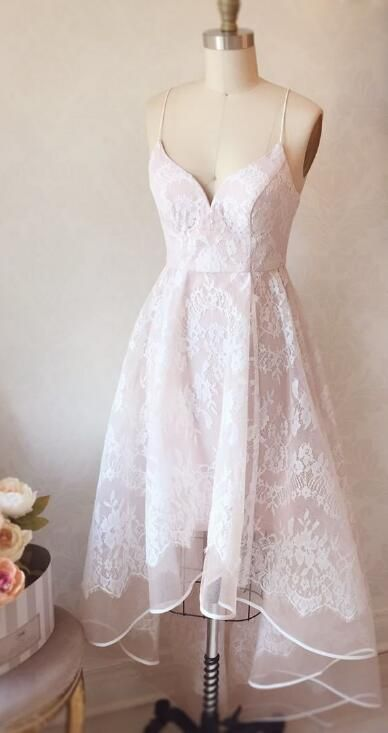 Straps HIgh Low Pink Lace Homecoming Dress from dreamdressy