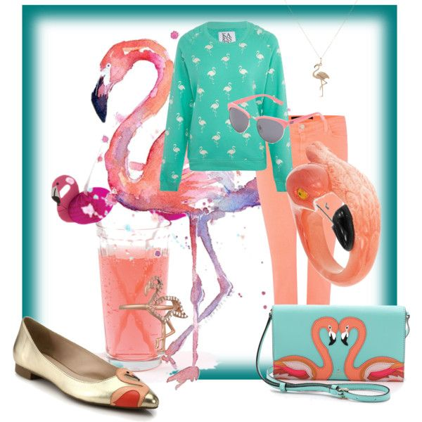 flamingos by teki-88 on Polyvore featuring Zoe Karssen, J Brand, Kate Spade, Khai Khai, Bianca Pratt and Vans