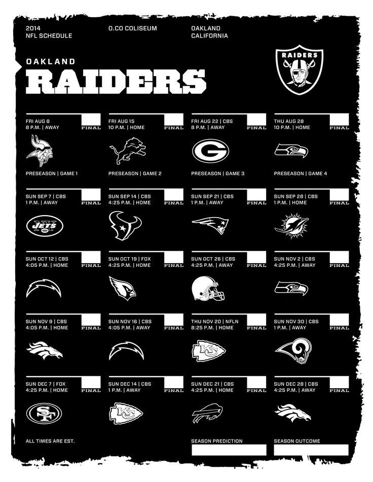 Oakland Raiders 2014 Nfl Schedule Jacksonville Jaguars New Orleans Saints Philadelphia Eagles Football