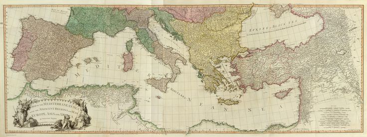 (Composite of) A map of the Mediterranean Sea with the adjacent regions and seas in Europe, Asia and Africa. By William Faden, Geographer to the King. London, printed for Wm. Faden, Charing Cross, March 1st, 1785.